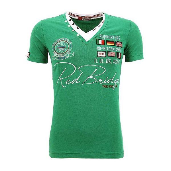 Pánské triko Redbridge zelené výstřih do V