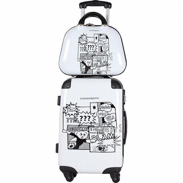 Dámský černo-bílý set kufru na kolečkách a kosmetické tašky Lulu Castagnette