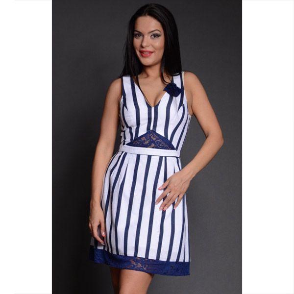 Dámské modro-bílé pruhované šaty s krajkovými detaily Oriana