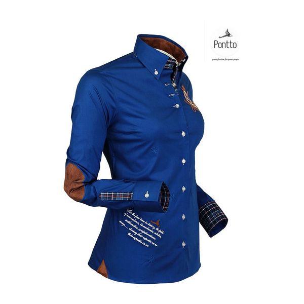 Dámská košile Pontto modrá s nášivkou a potiskem