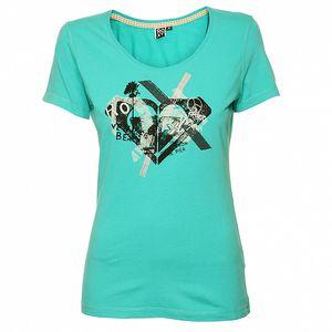 Dámske tyrkysové tričko s priginálnou plážovou potlačou Roxy