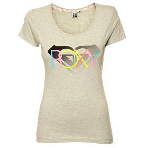 Dámske šedé tričko s pastelovou potlačou Roxy
