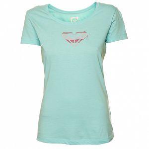 Dámske mätovo zelené tričko s ružovou potlačou Roxy