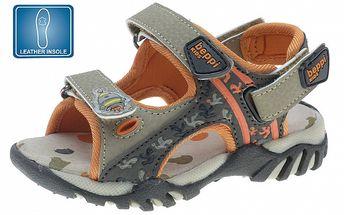 Detské hnedo-oranžové kožené sandálky Beppi