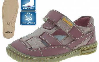 Detské ružové kožené sandálky Beppi
