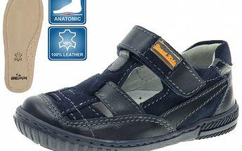 Detské tmavo modré kožené sandálky Beppi