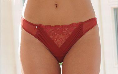 Dámské tmavě červené tanga kalhotky s krajkovým klínem Agio