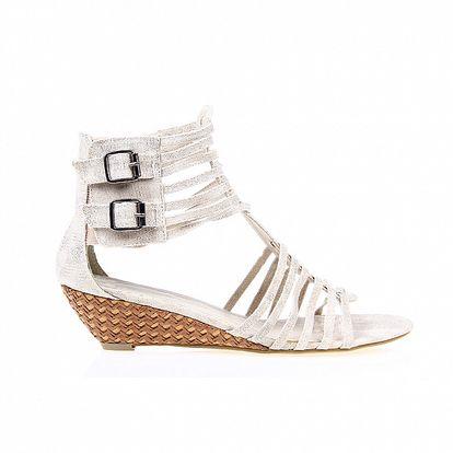 Dámske strieborné textilné sandálky Sofiniel