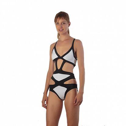 Dámske čierno-biele trikini s prestrihmi Amelia Botero
