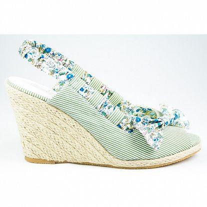Dámske zelené prúžkované sandálky Sofiniel s jutovým podpätkom