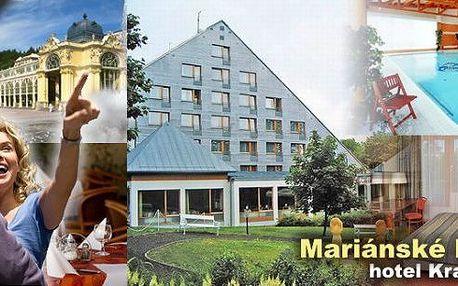 3 dny pro jednoho v hotelu Krakonoš***+ v proslulých Mariánských Lázních. Snídaně, večeře, volný vstup do bazénu s protiproudem, infrasauna, parafínový zábal na ruce, solná jeskyně a další bonusy! SLEVA až 50%!
