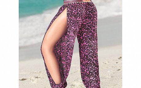 Dámské růžové plážové kalhoty se zvířecím potiskem Amelia Botero