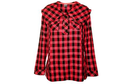 Dámská červeno-černá kostkovaná košile s výrazným límcem Roxy