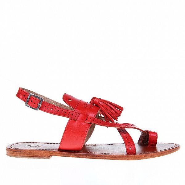 Dámske červené sandálky so strapcami KNK