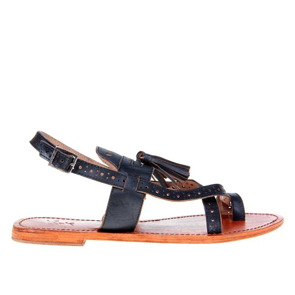Dámske čierne sandálky so strapcami KNK