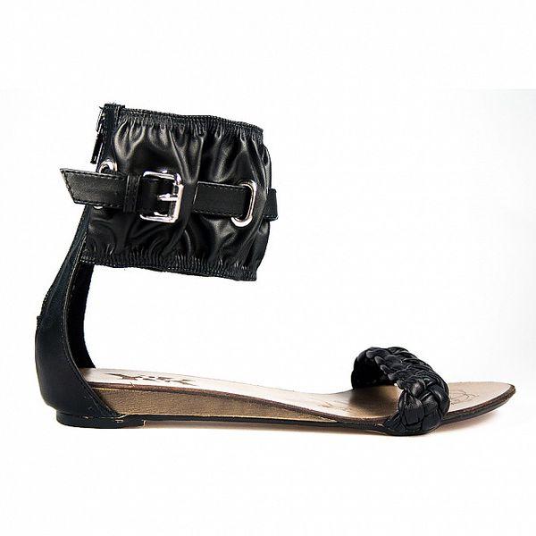 Dámske čierne sandálky s širokým pásikom Y&K