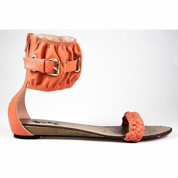 Dámske červené sandálky s širokým pásikom Y&K