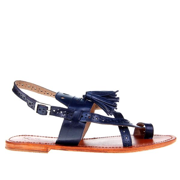 Dámske tmavo modré sandálky so strapcami KNK