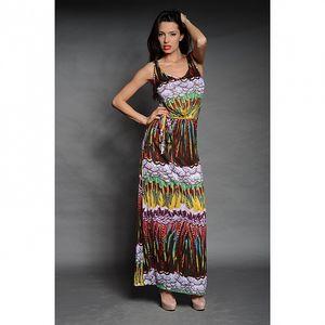 Dámske pestro vzorované dlhé šaty Simonette