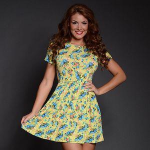 Dámske žlto-modré kvetinové šaty Simonette