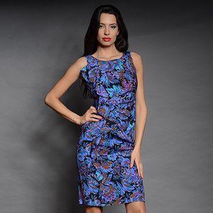 Dámske fialovo-modré šaty s kvetinovou potlačou Simonette