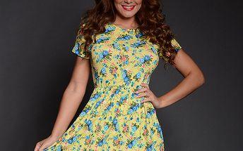 Dámské žluto-modré květinové šaty Simonette