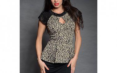 Dámska čierno-šedá leopardia blúzka Simonette