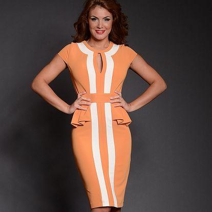 Dámske oranžové šaty s bielymi pruhmi Simonette