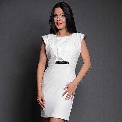 Dámske biele šaty s čiernou sponou Simonette