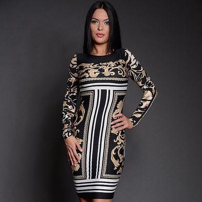 Dámske čierno-biela šaty s béžovým vzorom Simonette