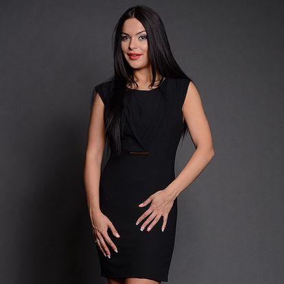 Dámske čierne púzdrové šaty s tenkou sponou Simonette