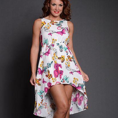 Dámske biela šaty s farebnými motýlmi Simonette