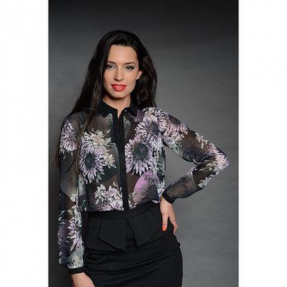 Dámska čierna košeľa Simonette s kvetinovým vzorom
