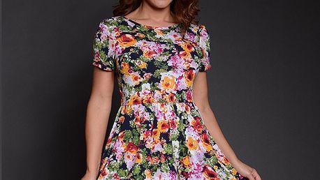 Dámske zeleno-ružové kvetinové šaty Simonette