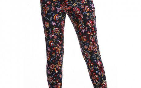 Dámské černé kalhoty Simonette s barevným květinovým potiskem