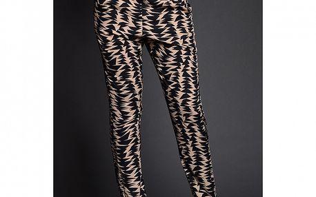 Dámské meruňkovov-černé vzorované kalhoty Simonette