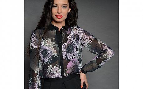 Dámská černá košile Simonette s květinovým vzorem