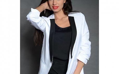 Dámske biela sako Simonette s čiernou klopou