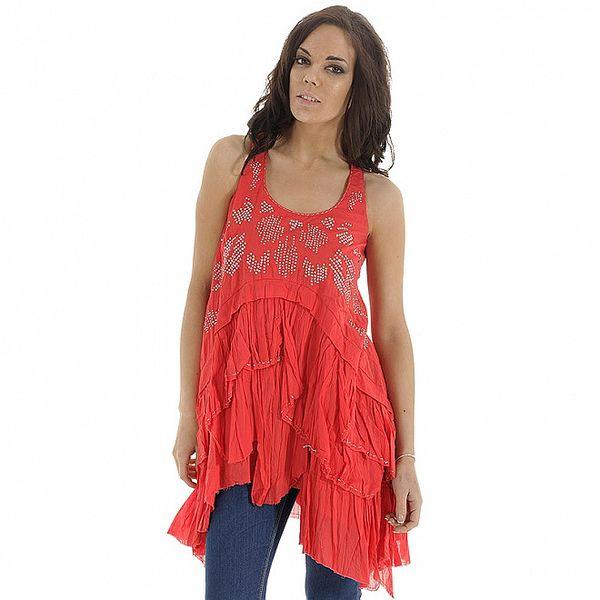 Dámské korálově červené šaty s aplikací Peace & Love