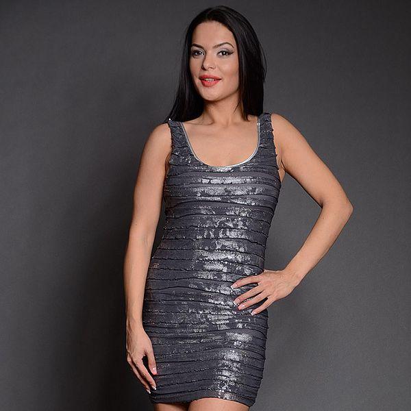 Dámské šedo-stříbrné šaty s proužky Simonette
