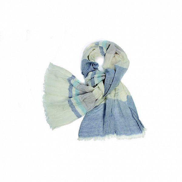Dámský krémovo-modrý pruhovaný fáčovinový šátek Fraas