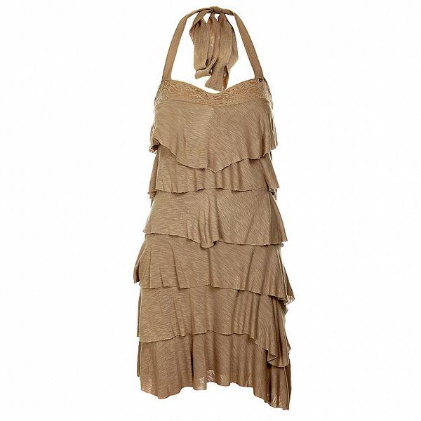 Dámske béžové volánové šaty Guess