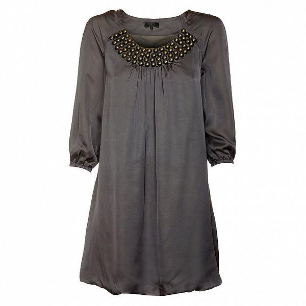 Dámske šedé šaty Guess s kovovými korálkami