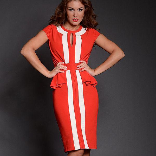 Dámské červené šaty s bílými pruhy Simonette