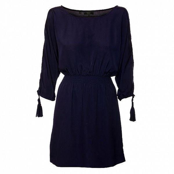 Dámské modré šaty s dlouhými rukávy Guess