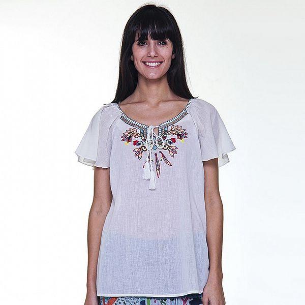 Dámská bílá halenka Peace&Love s barevnou výšivkou