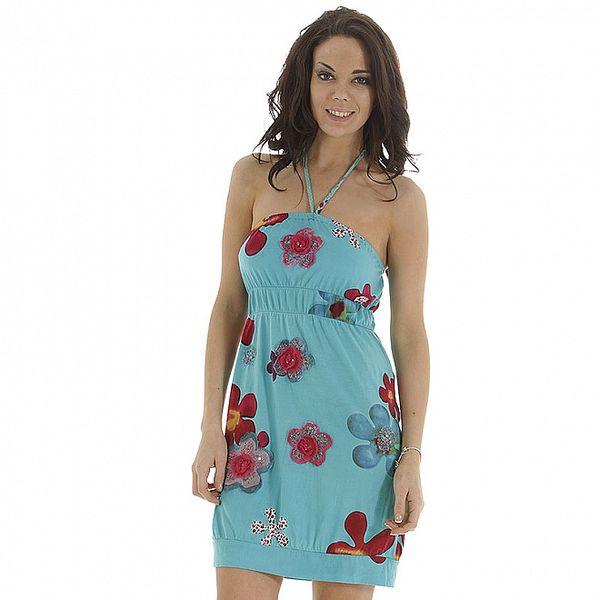 Dámské tyrkysové šaty s červeným květinovým potiskem Peace & Love