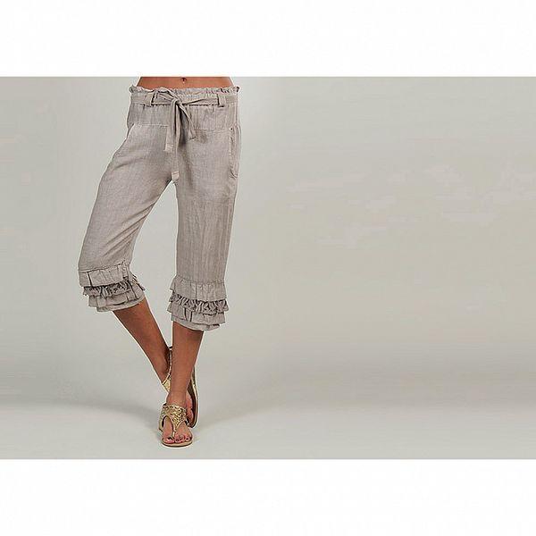 Dámské béžové lněné kalhoty s volánky Lin Nature