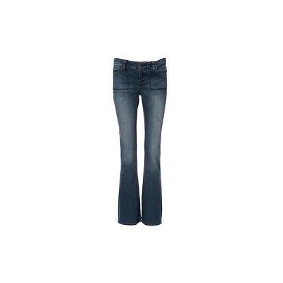 Modré džíny dole rozšířené, pod břicho