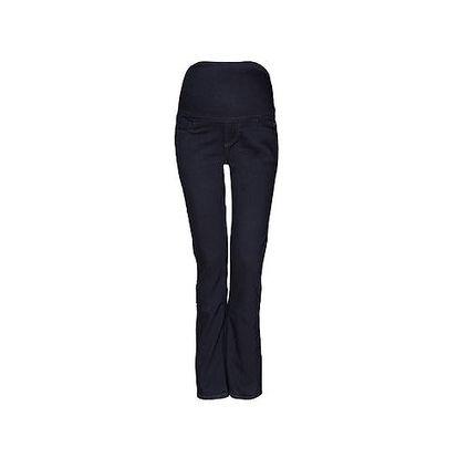 Tmavě modré džíny dole rozšířené s džínovým pásem